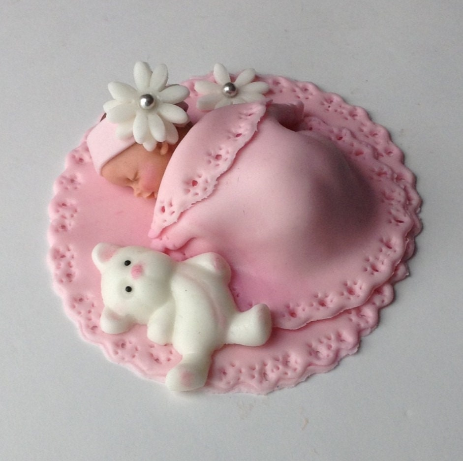 BABY SHOWER CAKE Fondant Cake Topper Baby girl edible cake ...