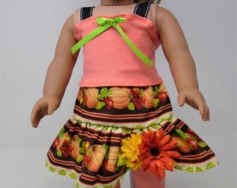 18 Inch Doll Clothes - Pumpkins and Flowers Fall Skirt Outfit handmade by Jane Ellen to fit 18 inch dolls