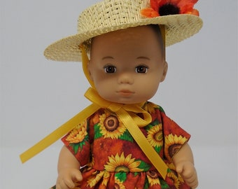 8 Inch Doll Clothes - Sunflowers on Orange Dress and Straw Hat handmade by Jane Ellen to fit 8 inch dolls such as Caring for Baby