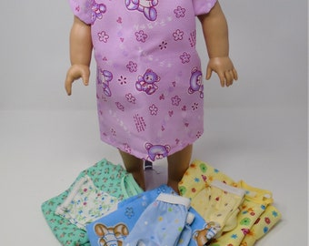 18 Inch Doll Clothes - Girls Hospital Gown and Panties Set Assorted Prints handmade by Jane Ellen to fit 18 inch dolls