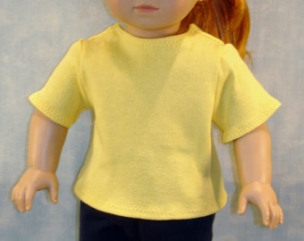 18 Inch Doll Clothes - Yellow T Shirt handmade by Jane Ellen to fit 18 inch dolls