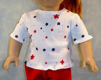 18 Inch Doll Clothes - Red and Navy Flowers on White T Shirt handmade by Jane Ellen to fit 18 inch dolls