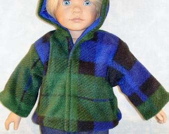 18 Inch Doll Clothes - Blue/Green Plaid Polar Fleece Boy's Jacket made by Jane Ellen