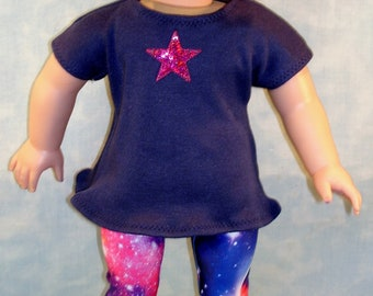 18 Inch Doll Clothes - Galaxy Leggings and Navy Tunic T Shirt with Star Applique handmade by Jane Ellen