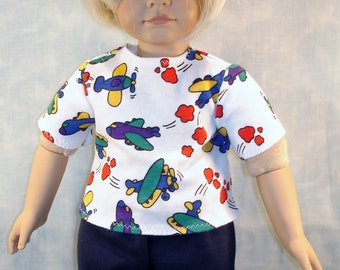 18 Inch Doll Clothes - Boys Airplanes T Shirt handmade by Jane Ellen to fit 18 inch boy dolls