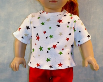 18 Inch Doll Clothes - Red, Green, Black Stars on White T Shirt handmade by Jane Ellen