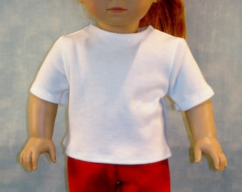 18 Inch Doll Clothes - White T Shirt handmade by Jane Ellen to fit 18 inch dolls