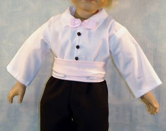 Shirt Pants Outfit made by Jane Ellen for boy 18 inch dolls 18 Inch Doll Clothes Pink Satin Cummerbund