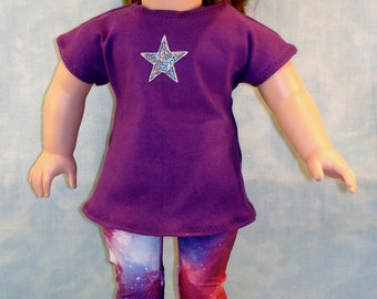 18 Inch Doll Clothes - Galaxy Leggings and Magenta Tunic T Shirt with Star Applique handmade by Jane Ellen