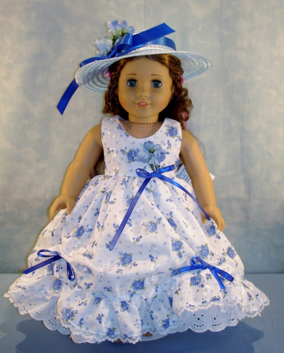 967e617781f 18 Inch Doll Clothes Blue Floral Eyelet Gown and Hat made by