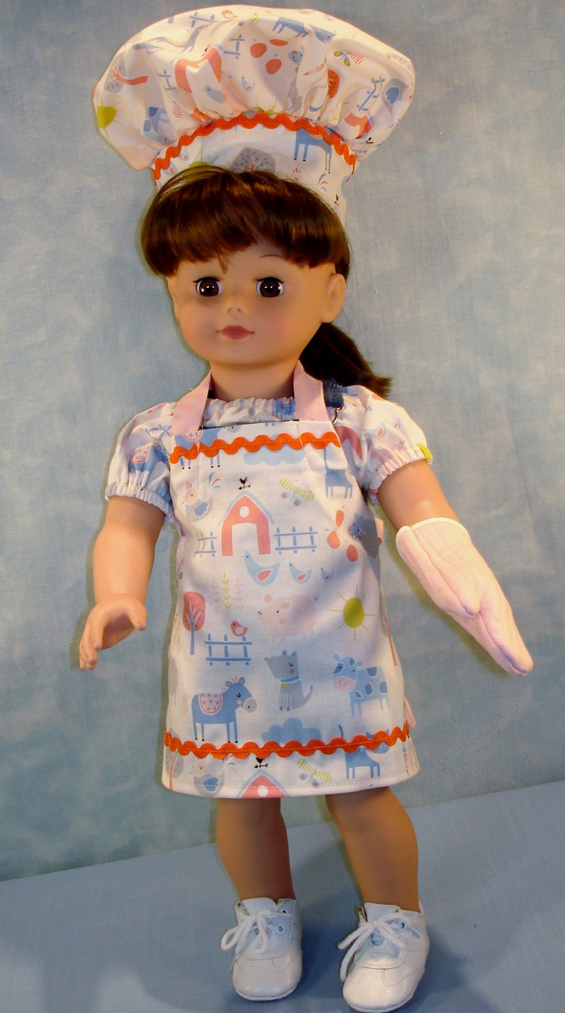 18 Inch Doll Clothes  Farm Animals on Peach Apron Chef's image 0