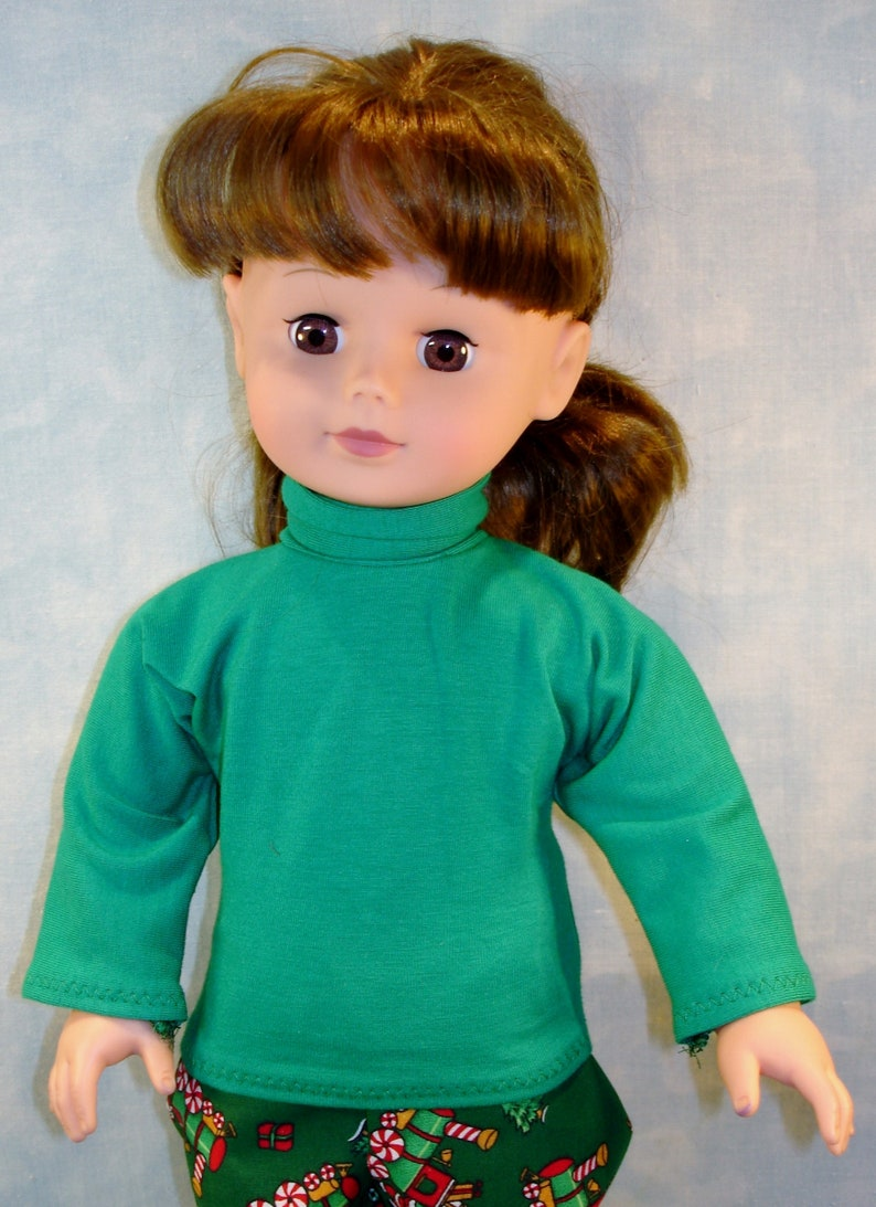 18 Inch Doll Clothes  Green Turtleneck handmade by Jane Ellen image 0
