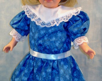 18 Inch Doll Clothes - 1904 Edwardian Royal Blue Floral Dress handmade by Jane Ellen to fit 18 inch dolls such as Samantha