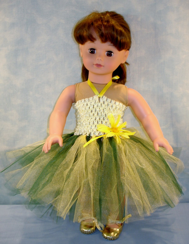 18 Inch Doll Clothes  Yellow and Green Headband Tutu with image 0