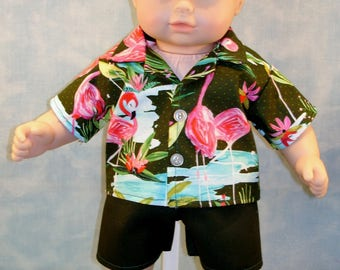 15 Inch Doll Clothes - Boys Flamingo Shirt and Shorts handmade by Jane Ellen to fit 15 inch baby dolls