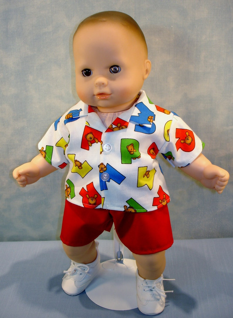 15 Inch Doll Clothes  Bears on Alphabets Boys Back to School image 0