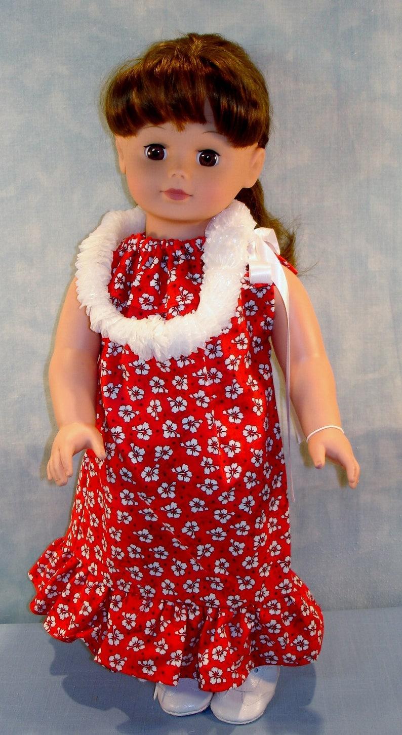 18 Inch Doll Clothes  Hawaiian Muu Muu Red handmade by Jane image 0