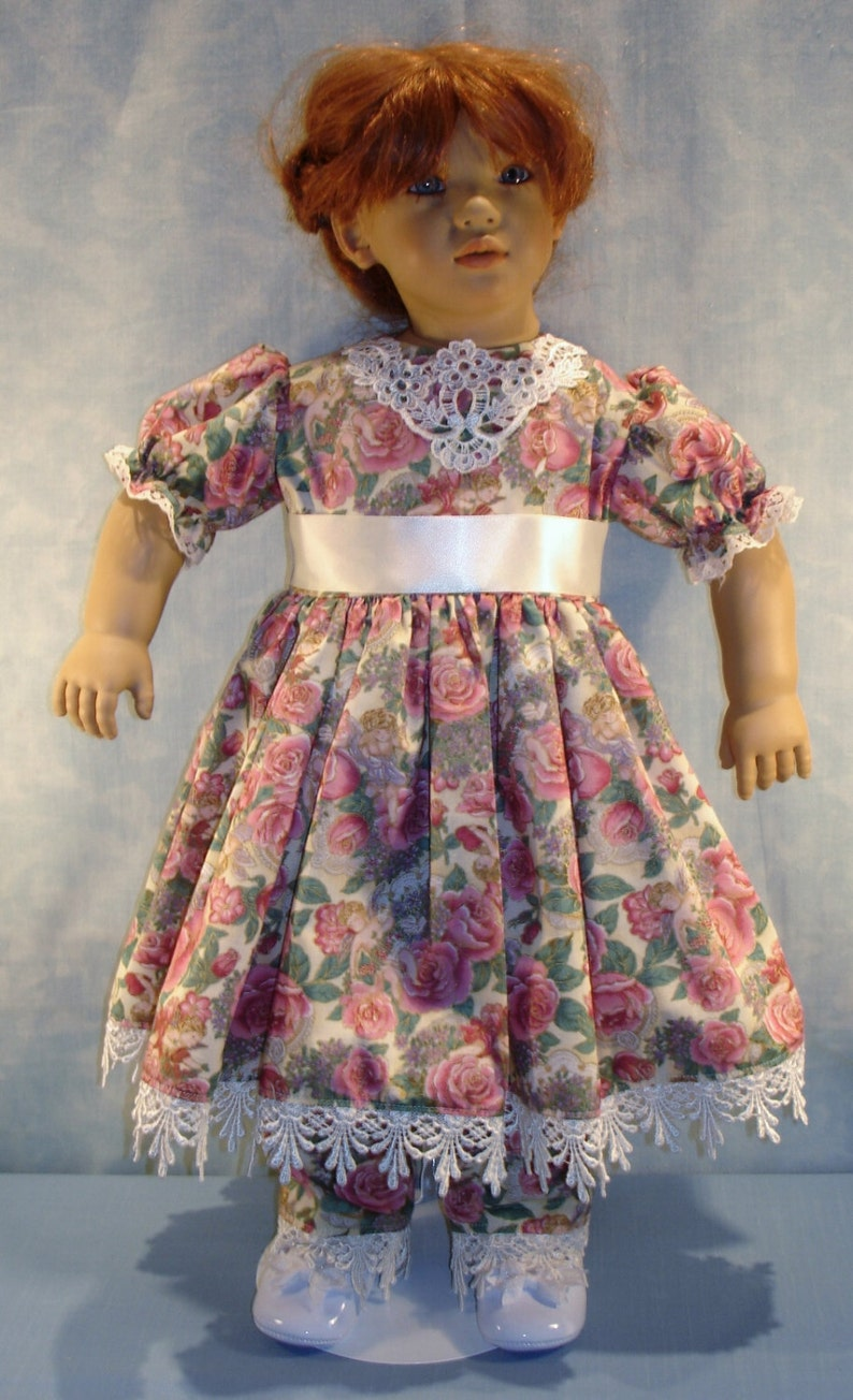 27 Inch Doll Clothes  Angels and Roses Dress Set made by Jane image 0
