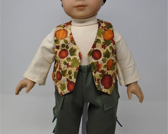 18 Inch Doll Clothes - Pumpkins on Beige Vest, Turtleneck and Cargo Pants Boys Fall Outfit handmade by Jane Ellen