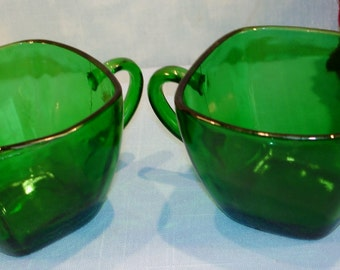 Charm Forest Green by Anchor Hocking Creamer and Sugar