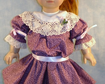 18 Inch Doll Clothes - 1904 Edwardian Mauve Floral Dress handmade by Jane Ellen to fit 18 inch dolls such as Samantha