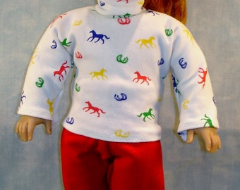 18 Inch Doll Clothes - Primary Colors Horses Turtleneck handmade by Jane Ellen