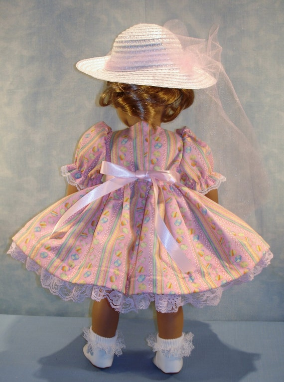 Easter Eggs on Pink Dress and Hat handmade by Jane Ellen to fit 18 inch dolls 18 Inch Doll Clothes