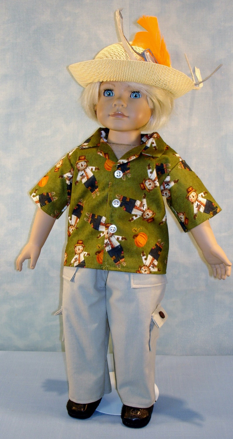 18 Inch Doll Clothes  Boys Scarecrow on Olive Shirt Cargo image 0