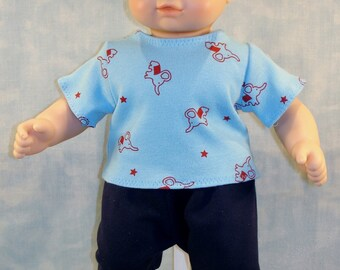 15 Inch Boy Doll Clothes - Red Elephants on Blue T Shirt with Navy Sweatpants handmade by Jane Ellen