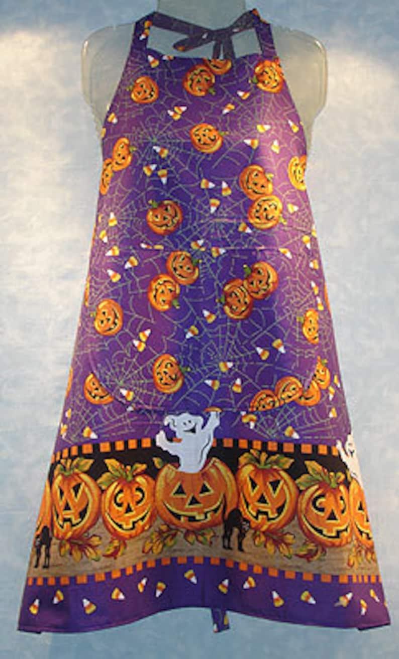 Purple Halloween Bib Apron image 0