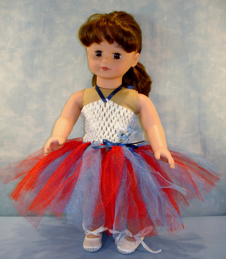 18 Inch Doll Clothes  Red White and Blue Headband Tutu with image 0