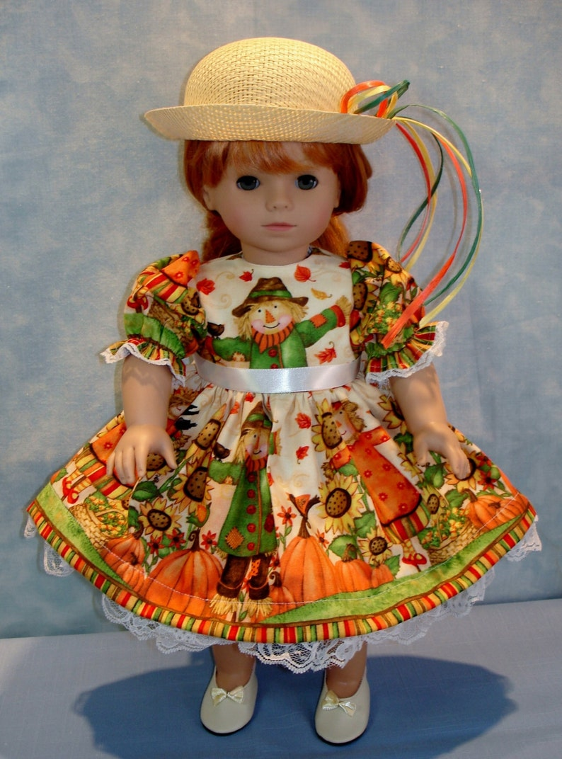 18 Inch Doll Clothes  Fall Scarecrow II Dress and Hat image 0