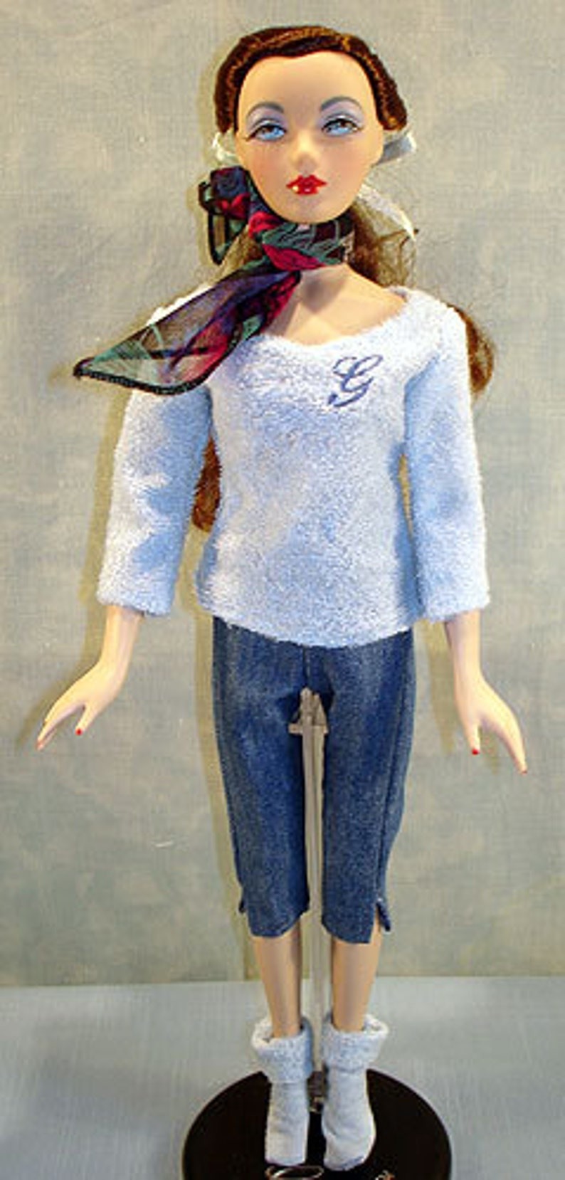 15-16 Inch Fashion Doll Clothes  Blue G Sweater and Jeans image 0