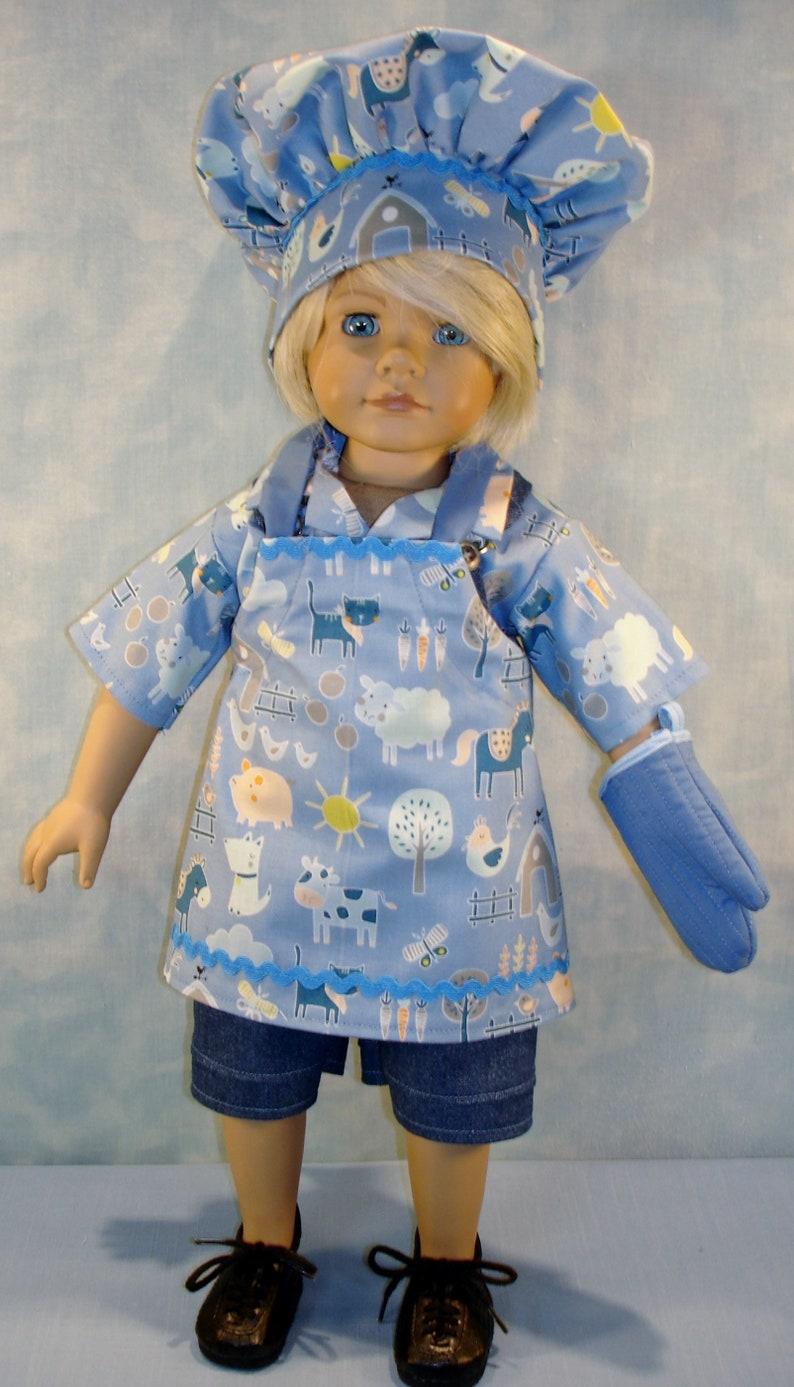 18 Inch Boy Doll Clothes  Farm Animals on Blue Apron image 0