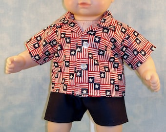 15 Inch Boy Doll Clothes - Stars and Stripes 4th of July American Flag Shirt Boys Outfit handmade by Jane Ellen