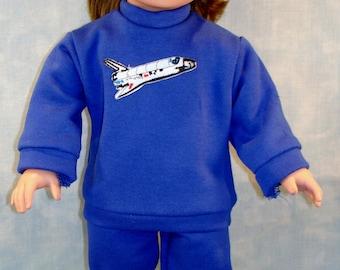 18 Inch Doll Clothes - Boys or Girls Space Shuttle Sweatsuit Blue handmade by Jane Ellen
