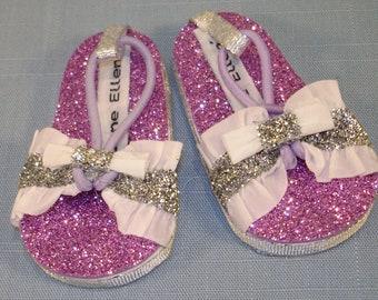 18 Inch Doll Shoes - Magenta White Ruffle Glitter Sandals handmade by Jane Ellen