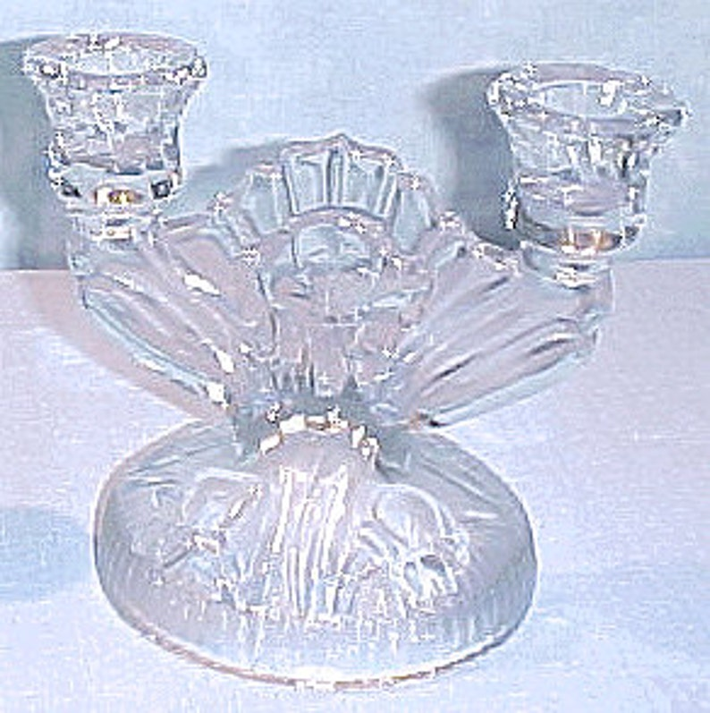 Iris and Herringbone by Jeannette Crystal Candlestick image 0
