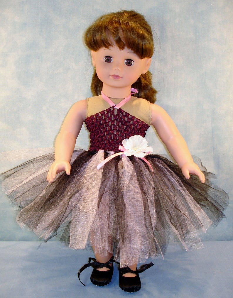 18 Inch Doll Clothes  Burgundy and Black Headband Tutu with image 0