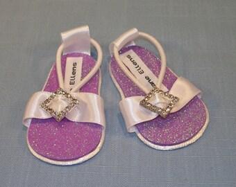 18 Inch Doll Shoes - Purple Glitter Rhinestone Sandals handmade by Jane Ellen to fit 18 inch dolls