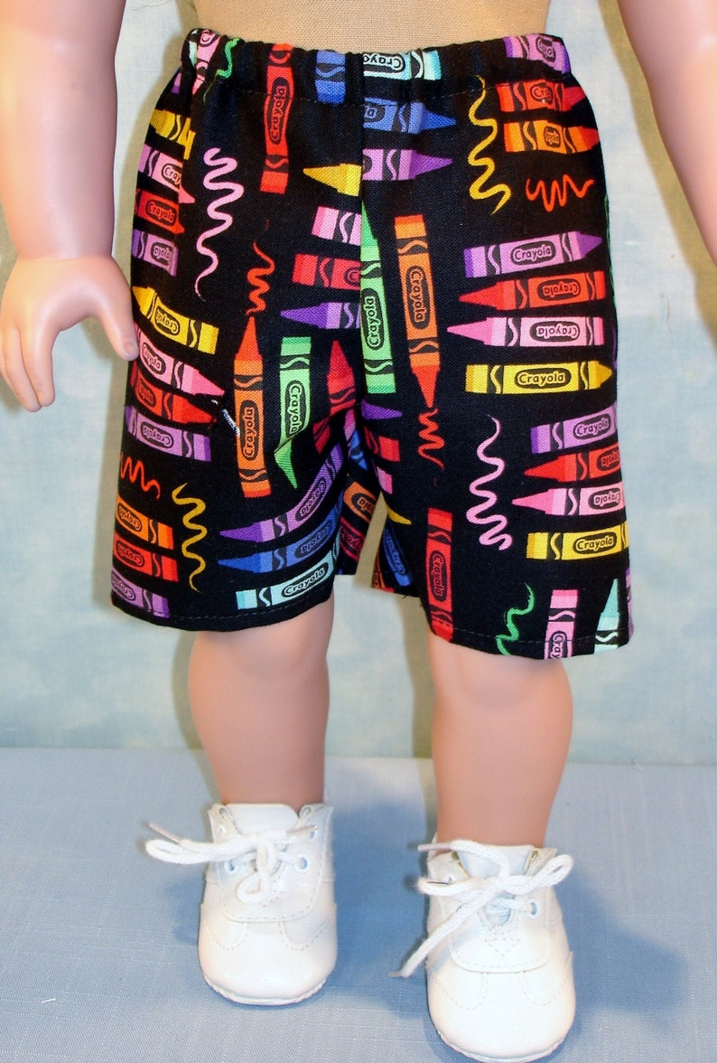 18 Inch Doll Clothes  Crayons on Black Shorts handmade by image 0