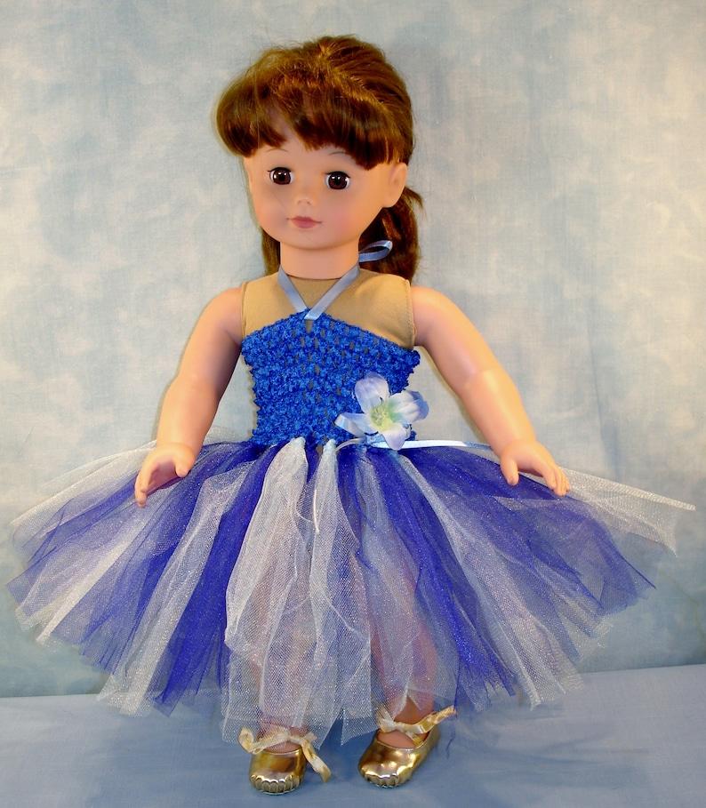 18 Inch Doll Clothes  Royal Blue and Light Blue Headband Tutu image 0
