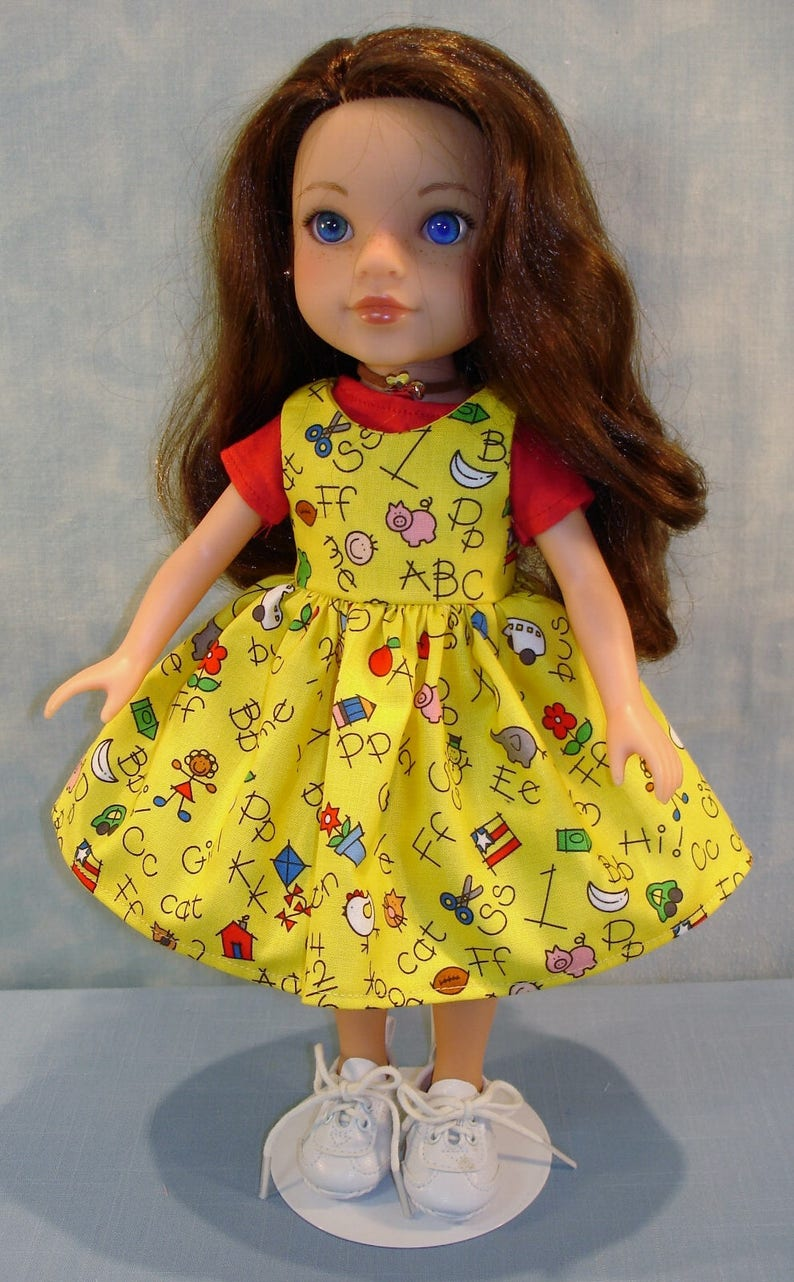 14 Inch Doll Clothes  Yellow Back to School Jumper and Red T image 0