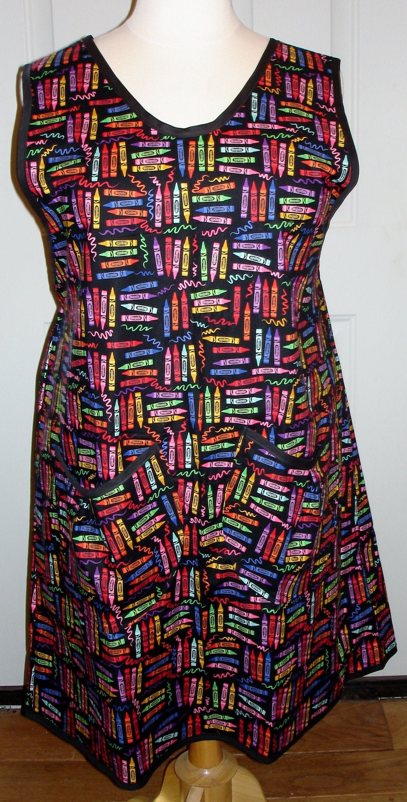 Back to School Womens Plus Size Wrap Around Crayons on Black image 0