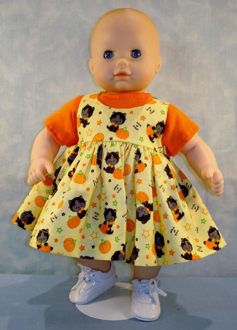 15 Inch Doll Clothes  Cats and Pumpkins Jumper Set handmade image 0