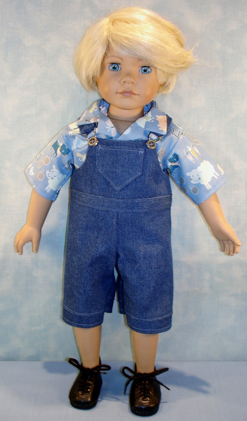 18 Inch Boy Doll Clothes  Denim Overalls and Shirt Outfit image 0