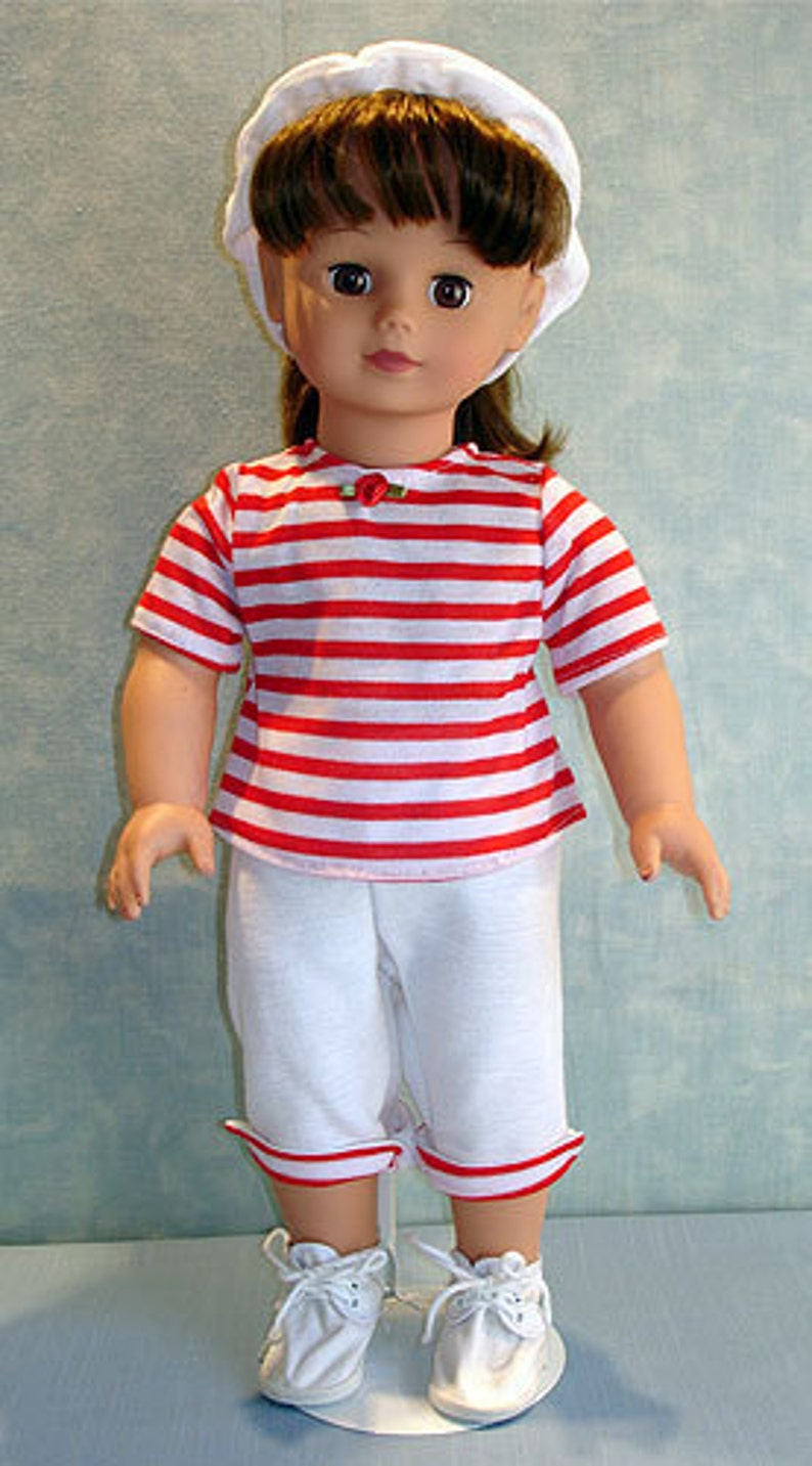 18 Inch Doll Clothes  Red and White Striped Capris Set image 0