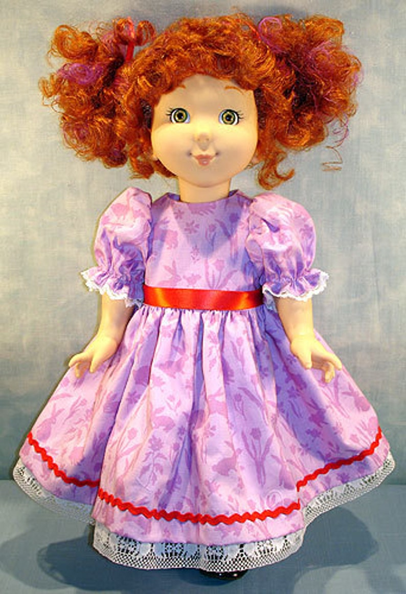 18 Inch Doll Clothes  Purple Bunnies with Red Trim Easter image 0