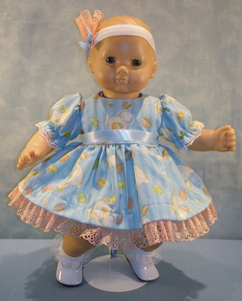 15 Inch Doll Clothes  Easter Eggs and Bunnies on Blue Dress image 0