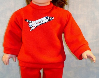 18 Inch Doll Clothes - Boys or Girls Space Shuttle Sweatsuit Red handmade by Jane Ellen